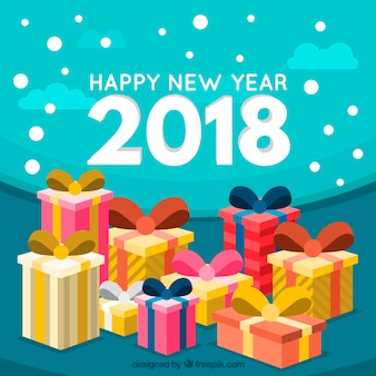 Beaucoup de cadeaux pour une nouvelle année