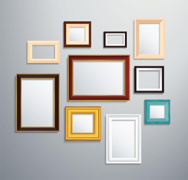 Beaucoup de cadre photo isolé sur le mur