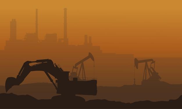 Beaucoup de déchets avec le paysage de l'industrie de la pollution
