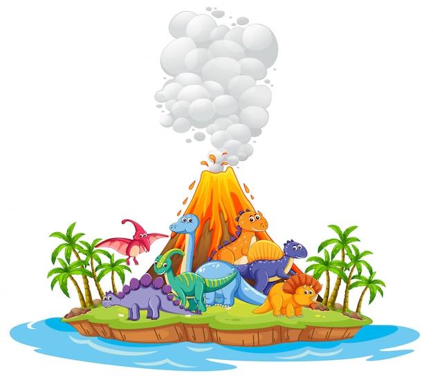 Beaucoup de dinosaures dans l'île
