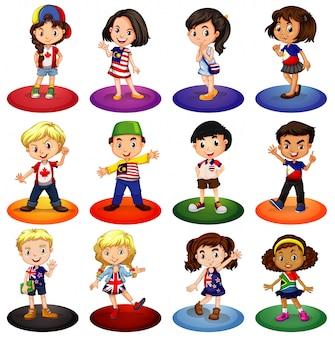 Beaucoup d'enfants de différents pays
