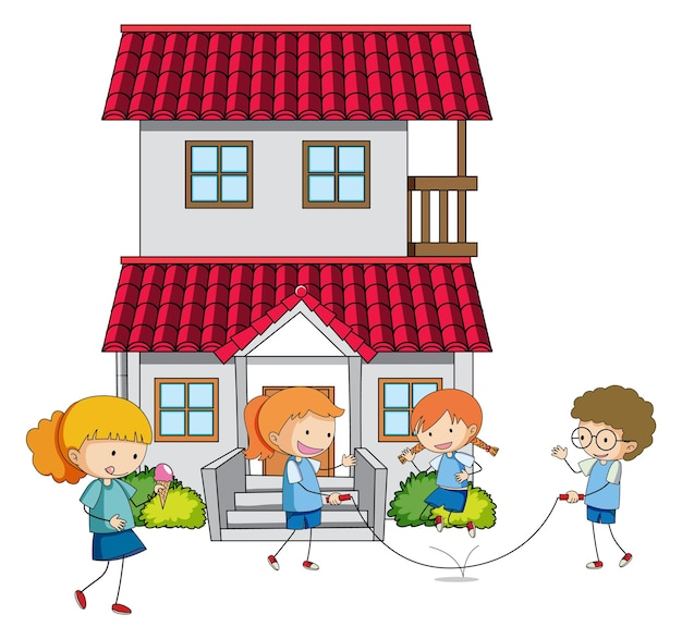 Beaucoup d & # 39; enfants font différentes activités autour de la maison