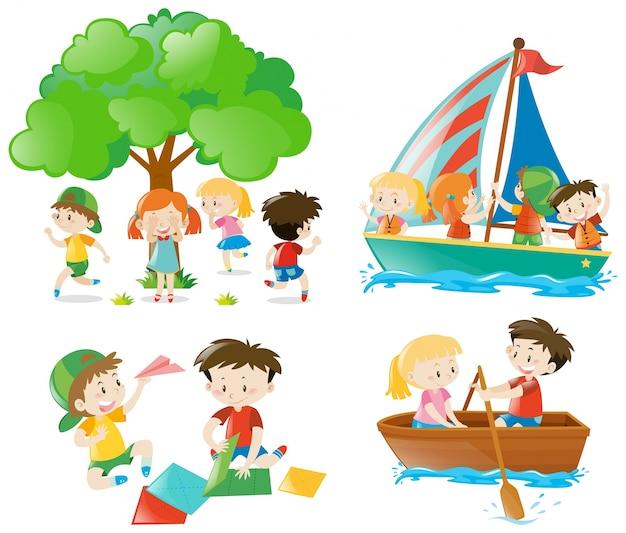Beaucoup d'enfants jouent et de faire différentes activités