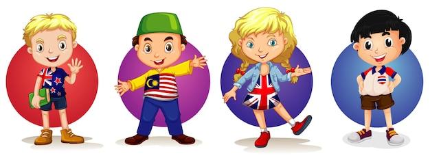 Beaucoup d'enfants de quatre pays