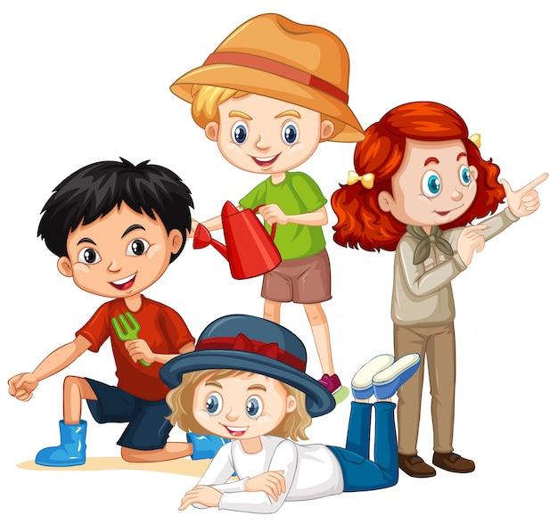 Beaucoup d'enfants avec un visage heureux