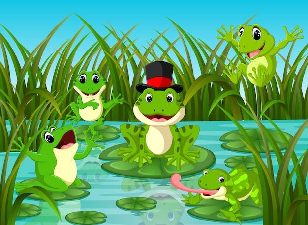Beaucoup de grenouilles sur la feuille avec la scène de la rivière