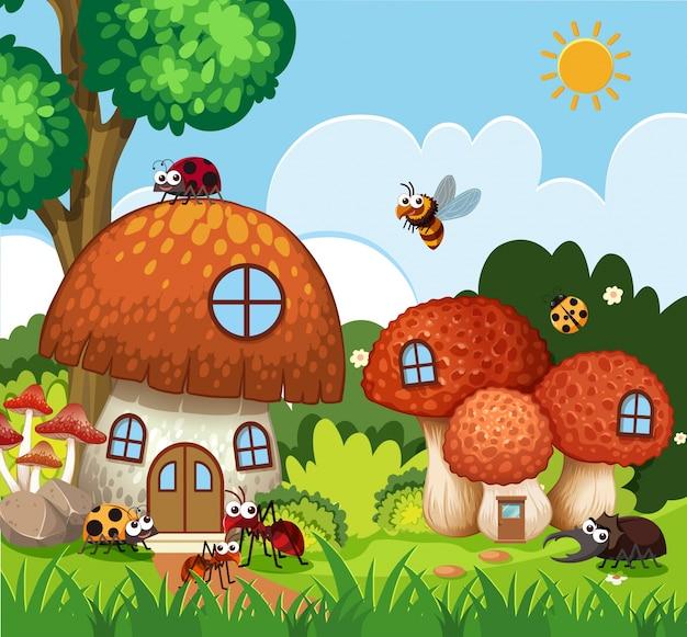 Beaucoup d'insectes volant autour de champignon dans le jardin