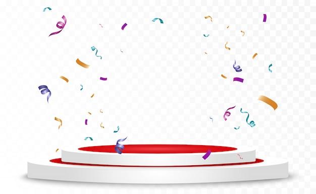 Beaucoup de minuscules confettis colorés et rubans sur fond transparent. événement festif et fête. fond multicolore. confettis lumineux colorés isolés sur le podium.