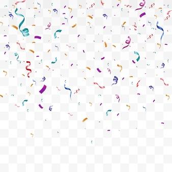 Beaucoup de minuscules confettis colorés et rubans sur fond transparent.