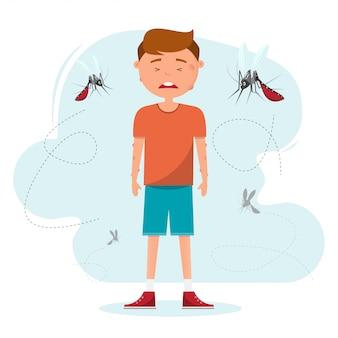Beaucoup de moustiques piquent un garçon