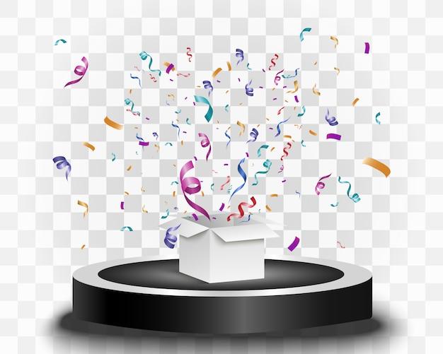 Beaucoup de petits confettis et rubans colorés sur fond transparent. confettis lumineux colorés isolés sur le podium.