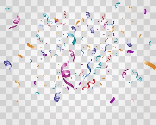 Beaucoup de petits confettis et rubans colorés sur fond transparent. événement festif et fête. fond multicolore confettis lumineux colorés isolés sur fond transparent