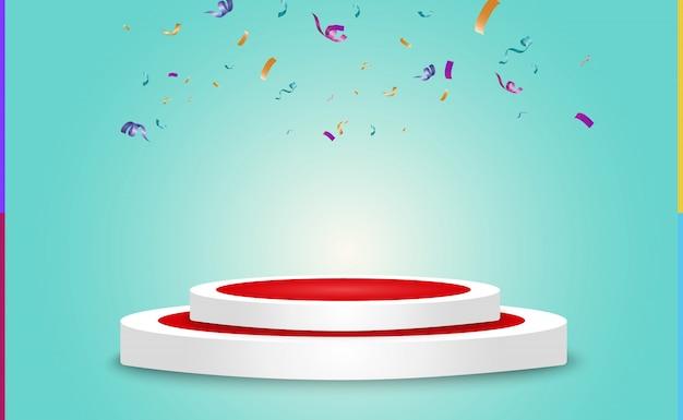 Beaucoup de petits confettis et rubans colorés sur fond transparent. événement festif et fête. fond multicolore. confettis lumineux colorés isolés sur le podium.