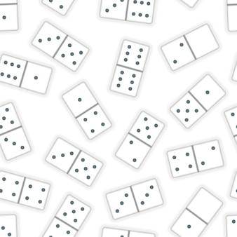 Beaucoup de pièces de dominos blancs réalistes sur un motif blanc et sans couture