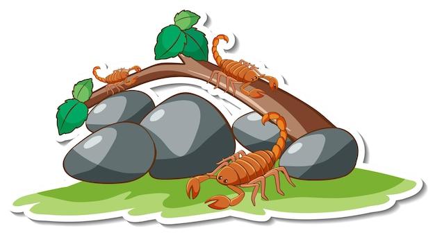 Beaucoup de scorpions avec autocollant élément nature