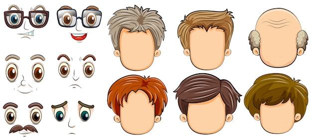 Beaucoup de visages d'hommes