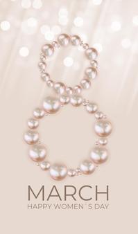 Beauté 8 mars carte de félicitations happy womens day avec des perles réalistes.