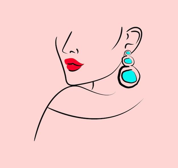 Beauté Abstraite Lèvres Rouges Femme Avec Boucles D'oreilles Dessin Au Trait Vecteur Premium