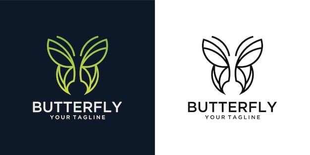 Beauté d'art de ligne de papillon minimaliste, style spa de luxe. création de logo