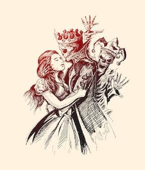 Beauté avec bête bête prince et fille avec jocker