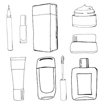 Beauté dessinée à la main, maquillage, griffonnages cosmétiques, illustrations vectorielles isolées sur fond blanc.