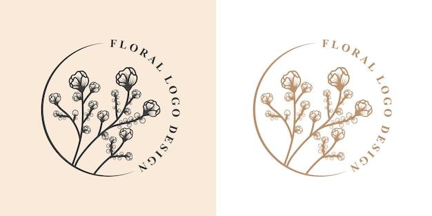 Beauté féminine dessinée à la main et cadre de logo botanique floral pour les soins capillaires de la peau du salon spa