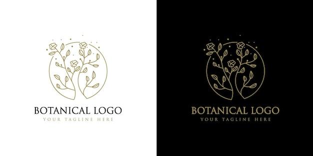 Beauté féminine dessinée à la main et cadre de logo botanique floral pour les soins capillaires de la peau du salon de spa