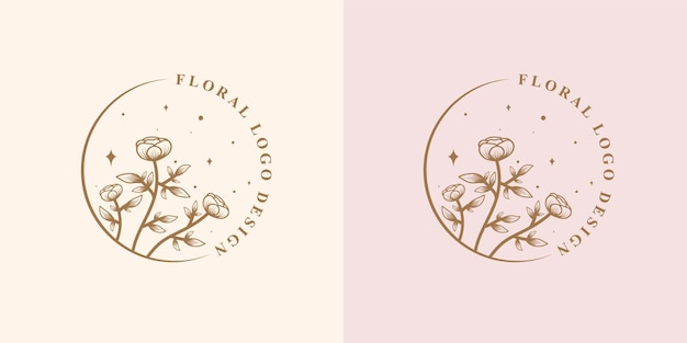 Beauté féminine dessinée à la main et cadre de logo botanique floral pour les soins de la peau et des cheveux de salon de spa