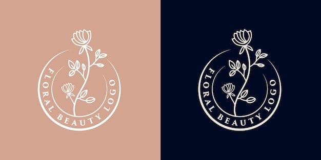 Beauté féminine dessinée à la main et logo botanique floral