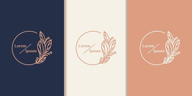 Beauté féminine dessinée à la main et modèle de logo botanique floral pour les soins capillaires d'ampli de peau de salon de spa