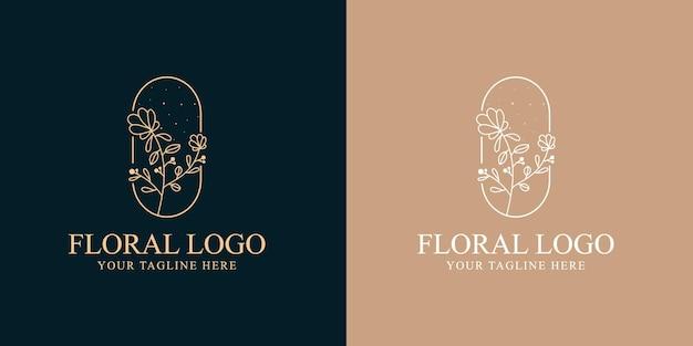 Beauté féminine dessinée à la main et modèle de logo botanique floral pour les soins de la peau et des cheveux de salon de spa