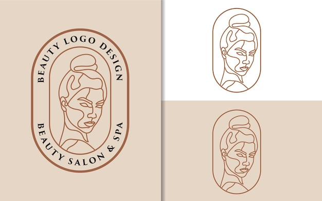 Beauté féminine visage de femme art minimaliste logo dessiné à la main