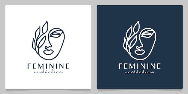 Beauté femme visage feuille logo design ligne contour minimaliste