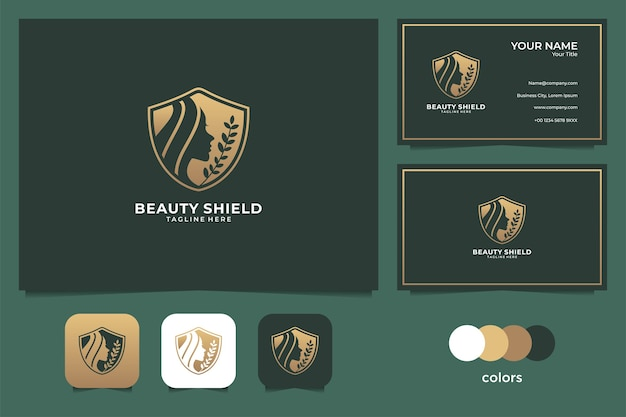 Beauté femmes bouclier logo et carte de visite. bon usage pour spa, salon de beauté et logo de mode
