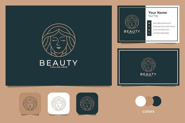 Beauté femmes avec création de logo de style art en ligne et carte de visite. bon usage pour le logo de la mode, du spa et du salon