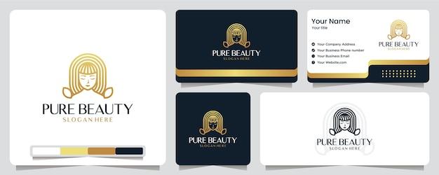 Beauté femmes, luxe, salon, spa, couleur or, bannière, carte de visite et création de logo