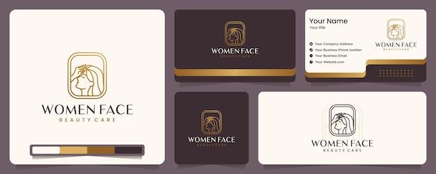 Beauté femmes, soins de beauté, visage de femme, couleur or, élégance, bannière et carte de visite, inspiration de conception de logo