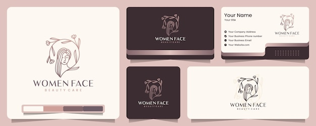 Beauté femmes, soins de beauté, visage de femme, élégance, bannière et carte de visite, inspiration de conception de logo
