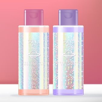 Beauté holographique pailletée à la mode ou articles de toilette transparents.