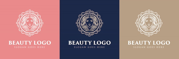 Beauté logo féminin floral dessiné à la main avec visage et cheveux adapté pour fille fitness cheveux beauté santé cosmétique salon de beauté naturel