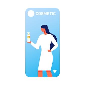 Beauté mobile banner avec femme à l'aide de nano spray
