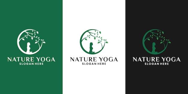 Beauté nature yoga logo design femme méditation avec arbre