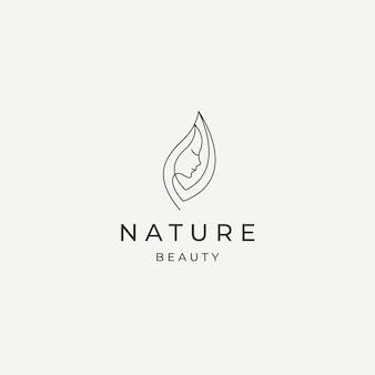 Beauté naturelle femme logo icône design modèle vecteur plat