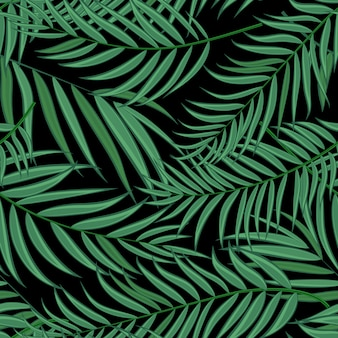Beautifil palm tree leaf silhouette seamless pattern
