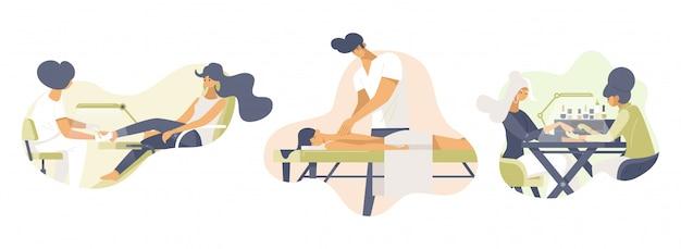 Beauty services set vector illustrations plates