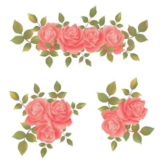 Beaux bouquets de roses aquarelles