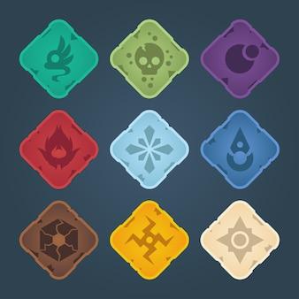 Beaux boutons carrés colorés avec bordure claire. ressources vectorielles pour le jeu. éléments d'interface graphique décoratifs, isolés