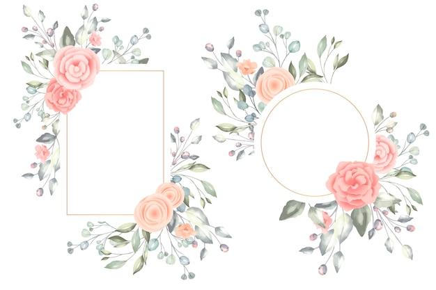 Beaux cadres floraux aquarelles
