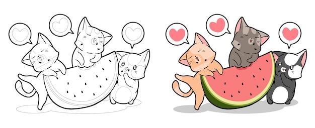 Beaux chats mangent la page de coloriage de dessin animé de pastèque