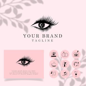 Beaux Cils Elegant Line Art Logo Modèle Modifiable Vecteur Premium